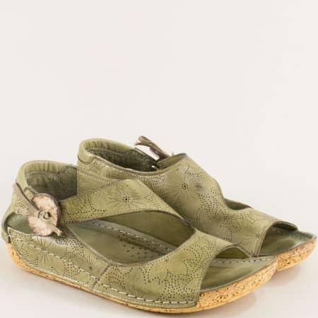 Зелени ортопедични сандали от естествена кожа k2029z