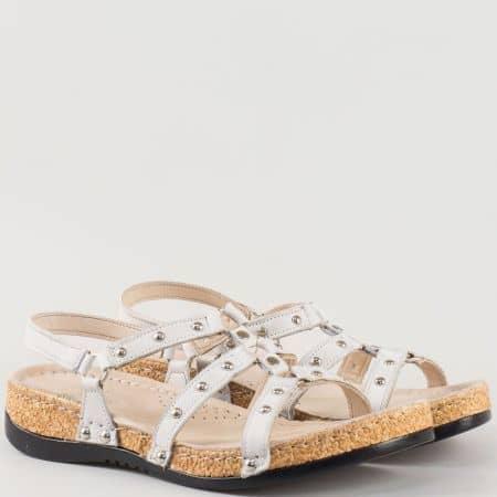 Бели дамски сандали на платформа от естествена кожа k213b