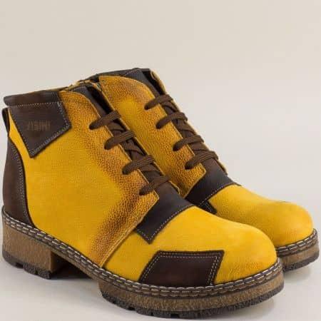 Жълти дамски боти от естествена кожа k32bjk