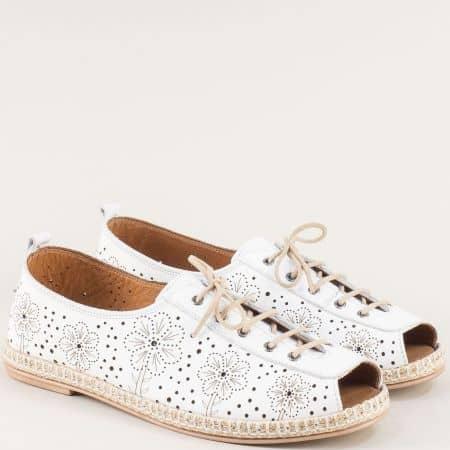 Летни дамски обувки от естествена кожа в бяло k556b