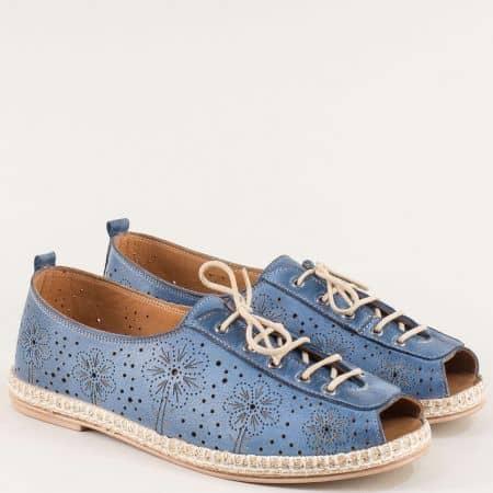 Сини дамски обувки на равно ходило с кожена стелка k556s