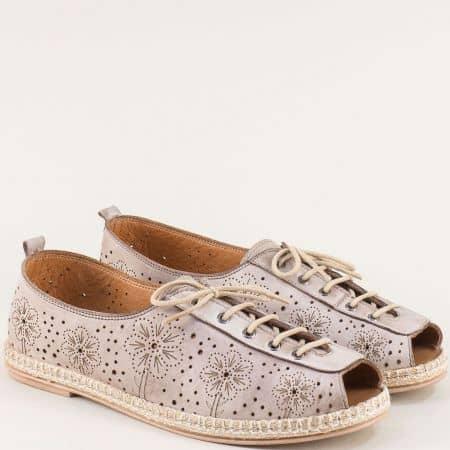 Перфорирани дамски обувки с отворени пръсти в сиво k556sv