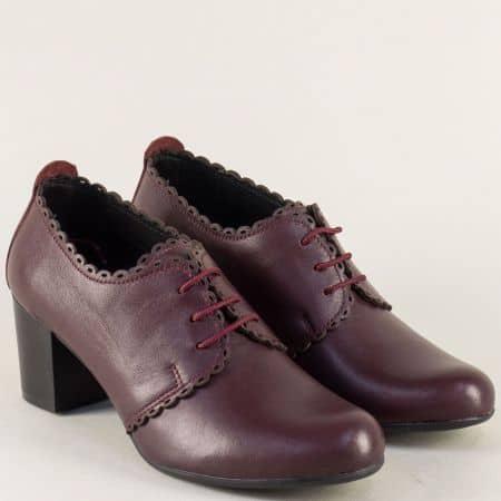 Кожени дамски обувки в цвят бордо на среден ток ketrin1054abd