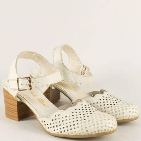 Бежови дамски сандали с перфорация и кожена стелка ketrin1150bj