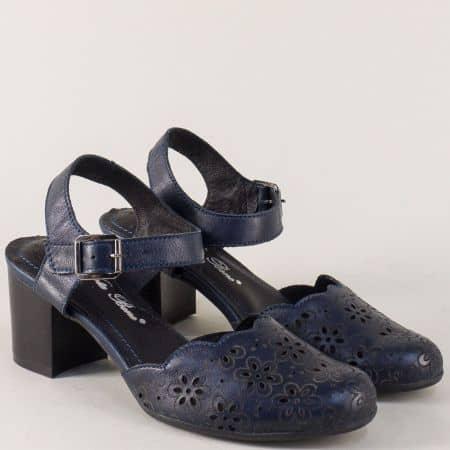 Тъмно сини дамски сандали на среден ток от естествена кожа  ketrin1075s