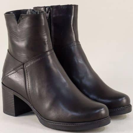 Черни дамски боти на среден ток от естествена кожа ketrin1225ch