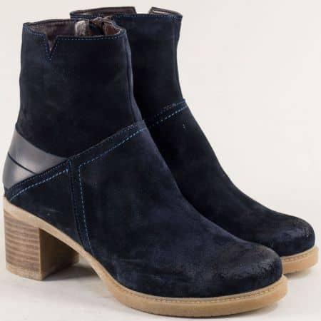 Велурени дамски боти в тъмно син цвят на среден ток ketrin1225vts
