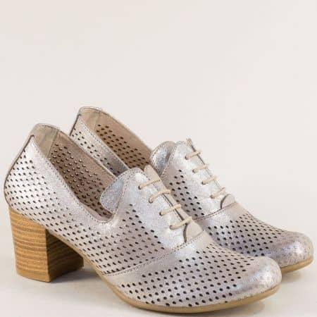 Бежови дамски обувки от естествена кожа на среден ток ketrin1257sbj