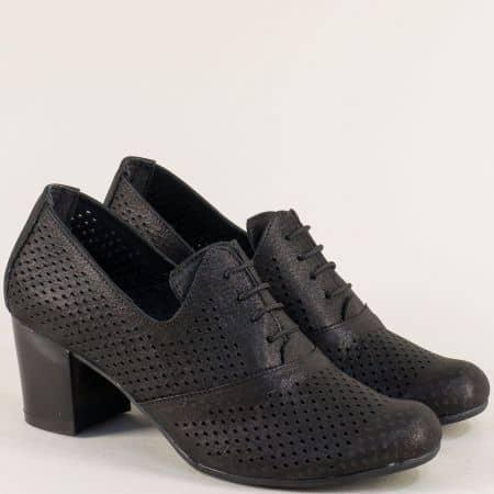 Черни дамски обувки с кожена стелка и среден ток ketrin1257sch