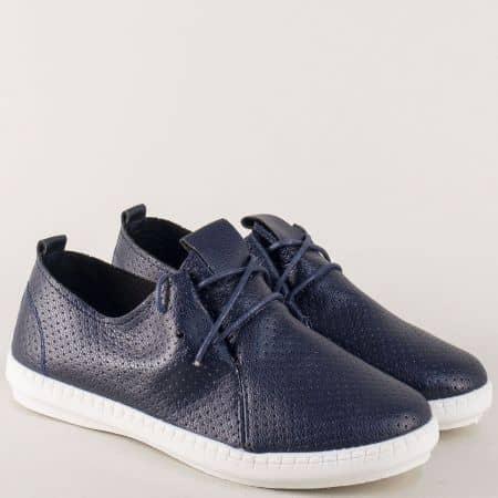 Тъмно сини дамски обувки с връзки и перфорация kzk6s
