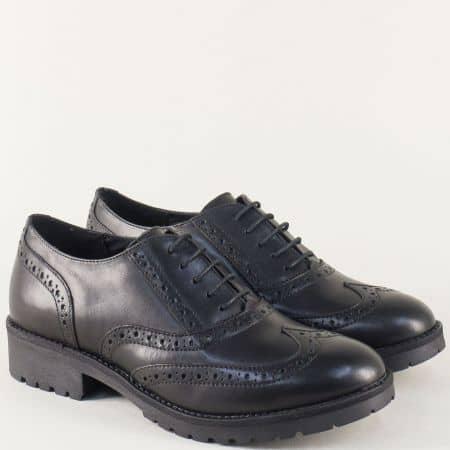 Кожени дамски обувки в черно на нисък ток с връзки l017172ch