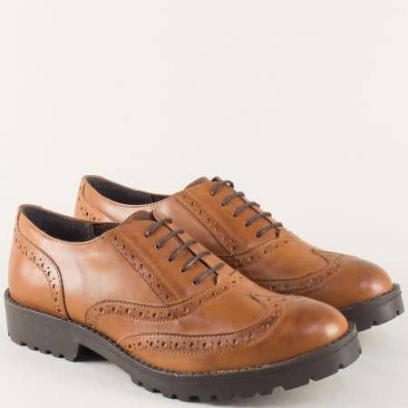 Кафяви дамски обувки от естествена кожа с грайфер и нисък ток l017172k