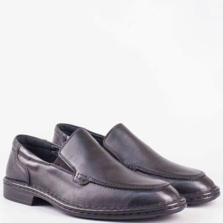 Мъжки елегантни шити обувки с два ластика- Arbitro и кожена ортопедична стелка от естествена кожа в черен цвят l1405ch