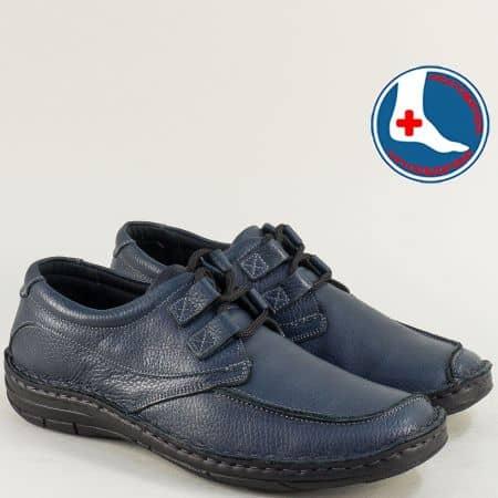 Кожени мъжки обувки в тъмно син цвят- ARBITRO l1438s