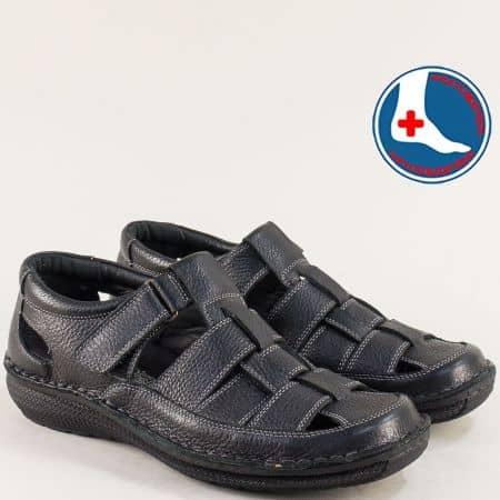 Кожени мъжки сандали с лепка в черен цвят- ARBITRO l1469ch