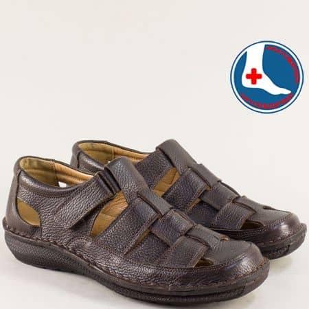 Кожени мъжки сандали с лепка в тъмно кафяво- ARBITRO l1469kk