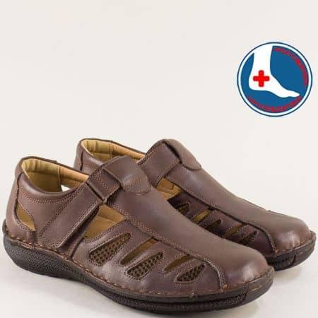 Тъмно кафяви мъжки сандали от естествена кожа- ARBITRO l147066kk