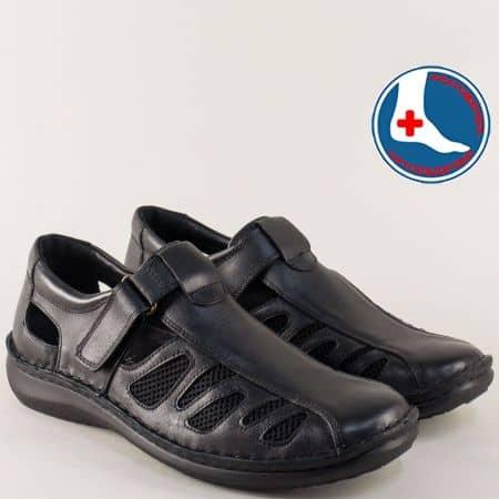 Шити мъжки сандали от черна естествена кожа- Arbitro l1470ch