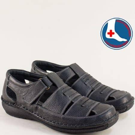 Кожени мъжки сандали в черен цвят с лепка- ARBITRO l147266ch