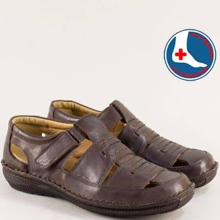 Кожени мъжки сандали в тъмно кафяво с лепка- ARBITRO l147266kk