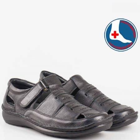 Ръчно изработени мъжки сандали с лепка и ортопедична стелка- Arbitro от естествена кожа в черен цвят  l1472ch