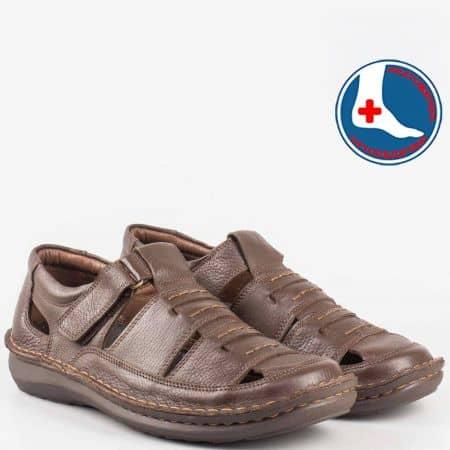 Анатомични мъжки сандали- шити с лепка от естествена кожа в кавяв цвят- Arbitro  l1472kk
