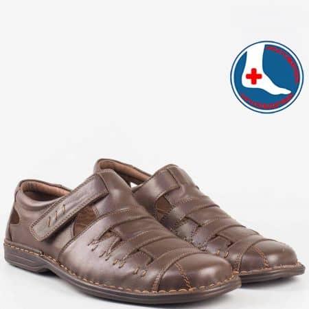 Мъжки шити сандали- Arbitro с ортопедична стелка и велкро лепенка от кафява естествена кожа l1557kk