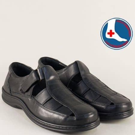 Кожени мъжки сандали на шито ходило в черен цвят l1565ch