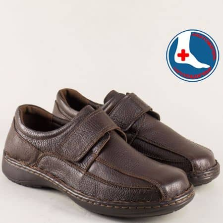 Тъмно кафяви мъжки обувки с лепка и кожена стелка l1661kk