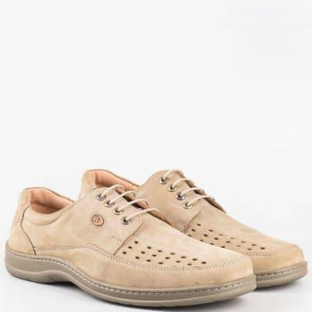 Бежови шити мъжки обувки с връзки и кожена ортопедична стелка- Arbitro от естествен набук с перфо мотиви  l1679nbj