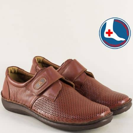 Кафяви мъжки обувки с кожена ортопедичта стелка  l1697k