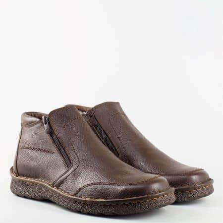 Мъжка ежедневна удобна бота с ципове от естествена кожа в кафяв цвят l1718kk