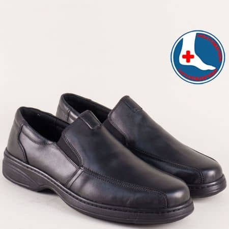 Кожени мъжки обувки Arbitro в черен цвят на равно ходило с анатомична стелка l1724ch