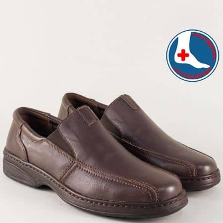 Тъмно кафяви мъжки обувки от естествена кожа с анатомична стелка l1724kk