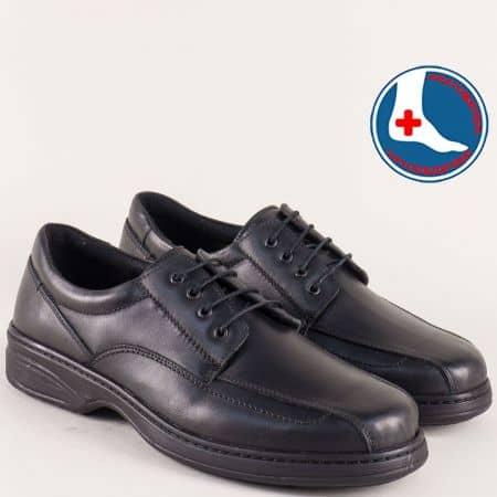 Мъжки обувки от естествена кожа в черен цвят на равно ходило l1749ch