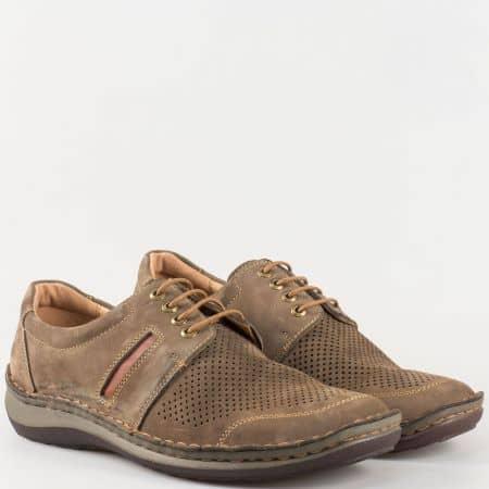 Мъжки перфорирани обувки с връзки от естествен набук в кафяв цвят- Arbitro с вадеща се ортопедична стелка от естествена кожа  l1854nk
