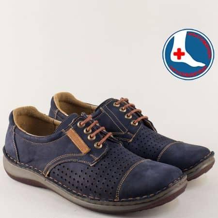Ортопедични мъжки обувки с връзки в син цвят- Arbitro l1858ns