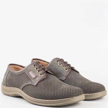 Ръчно изработени мъжки анатомични обувки с връзки от перфориран естествен набук- Arbitro  l1859nsv