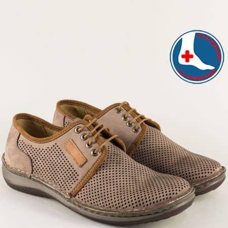 Кафяви мъжки обувки с връзки на шито ходило- Arbitro l1863nk