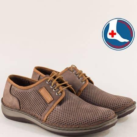 Тъмно кафяви мъжки обувки от естествен набук- Arbitro l1863nk1