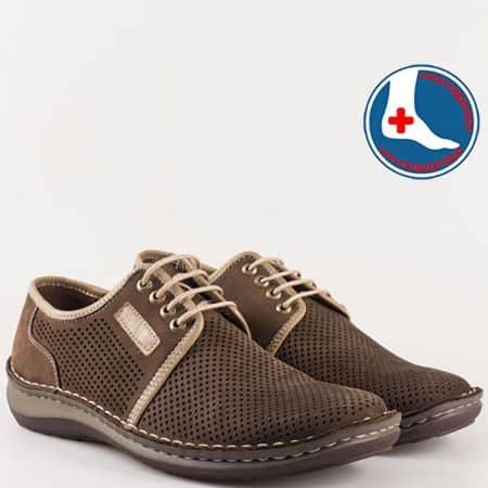 Ортопедични мъжки обувки с връзки в тъмно кафяво l1863nkk