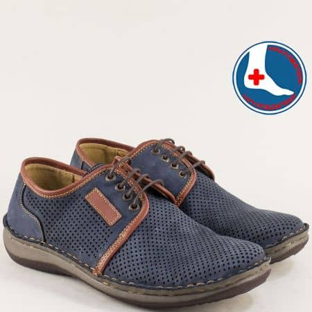 Анатомични мъжки обувки в син цвят с връзки- Arbitro l1863ns