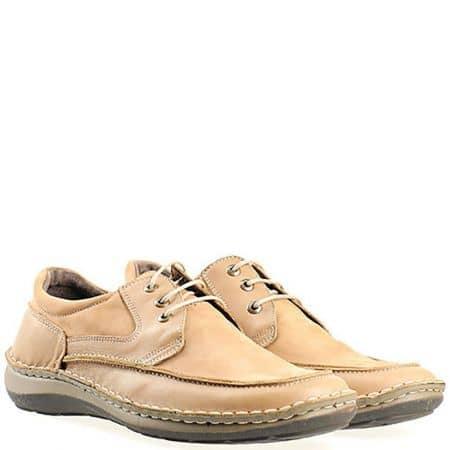 Кафяви мъжки обувки с кожена ортопедична стелка l1865nk