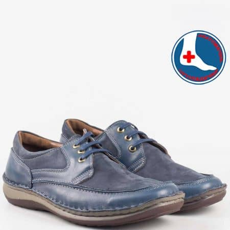 Сини мъжки обувки от естествена кожа и набук- Arbitro l1865ns