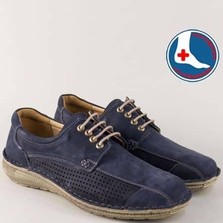 Тъмно сини мъжки обувки от естествен набук на ортопедично ходило l1870ns
