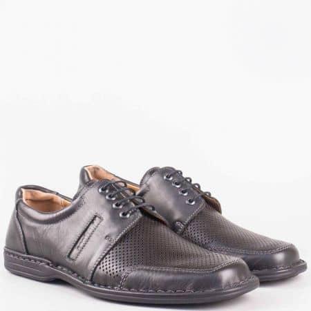 Мъжки шити анатомични обувки с връзки- Arbitro от черна естествена кожа с лазерна перфорация l1887ch