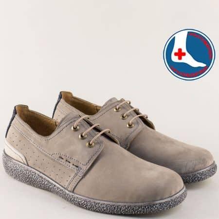 Ортопедични мъжки обувки от сив естествен набук l1971nsv