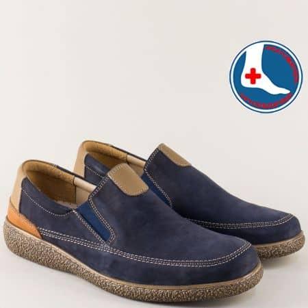 Шити мъжки обувки с ластик от син естествен набук l1980ns