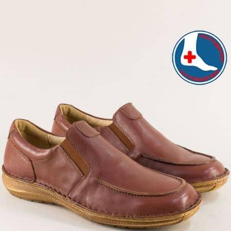 Кожени мъжки обувки с два ластика в кафяво- ARBITRO l1986k