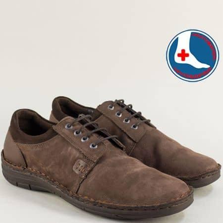 Тъмно кафяви мъжки обувки с връзки от естествен набук l1992nkk
